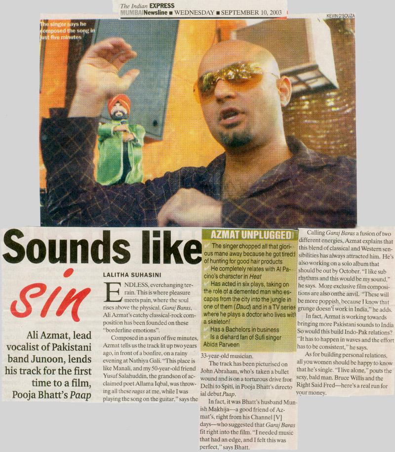 Ali Azmat lead vocalist of Pakistani band Junoon, lends his
