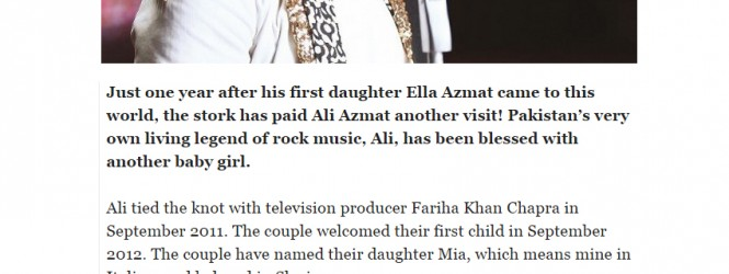 Did You Know? : Ali Azmat Blessed With Second Daughter!